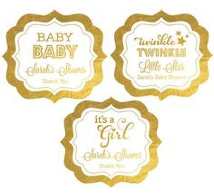 Die Cut Metallic Gold Labels